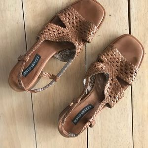 Sesto Meucci  Woven Leather Heeled Sandal